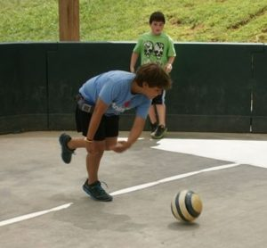 Just hanging out at camp, playing some gagaball with a pump and a CGM on his belt!