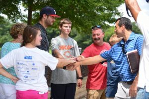 """""""Dream on 3!"""" Sam Parker and his family meet Jay Cutler."""